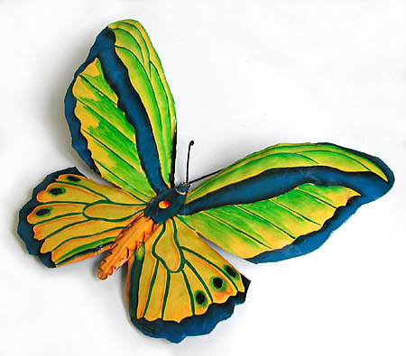 Painted Metal Green & Blue Butterfly Wall Decor - Garden Design - 8