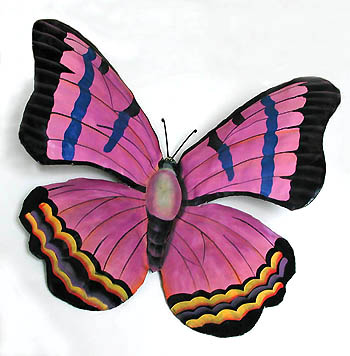 Purple Butterfly - Hand Painted Metal Wall Decor - 9