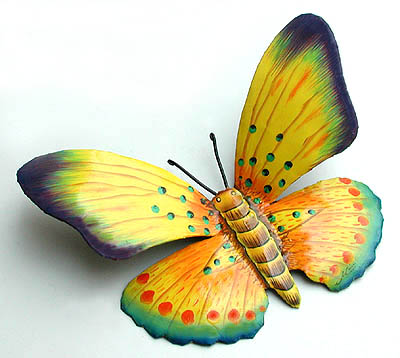 Hand Painted Metal Decorative Butterflies & Dragonflies - Outdoor ...