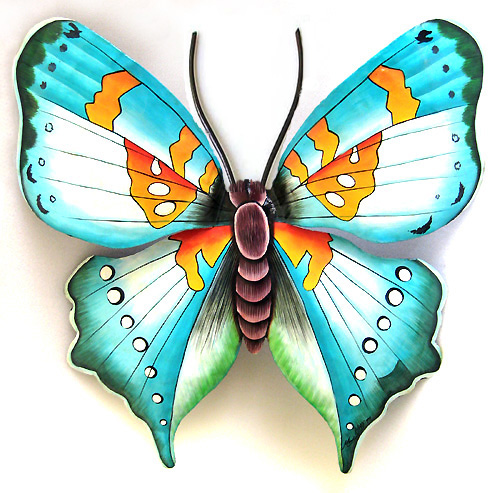 Beautifully hand painted aqua and gold butterfly wall hanging. Lovely for inside or outside of your home.