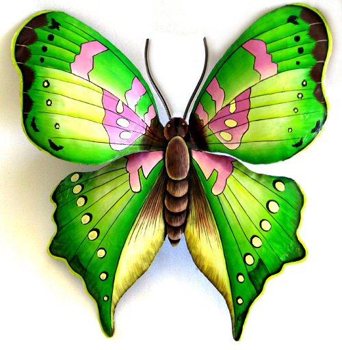 Large Green Butterfly   Hand Painted Metal Wall Art   Hand Painted Metal  Butterfly Wall Hanging