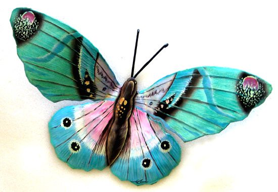 Aqua Butterfly Art - Steel Wall Hanging