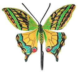 Hand Painted Green - Yellow Butterfly Metal Wall Hook - Haitian Metal Art - 8