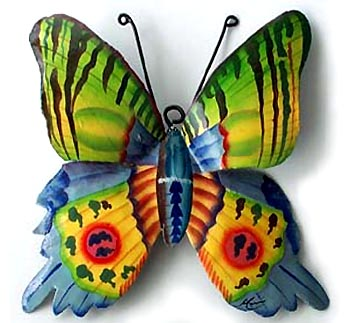 Tropical Colors   Painted Butterfly Wall Decor   Steel Drum Metal Art   9