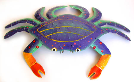 Handcrafted Metal Blue Crab Wall Hanging -Hand painted metal crab nautical design - Tropical metal art wall hanging. Handcrafted in Haiti from recycled steel drums. Caribbean wall decor.