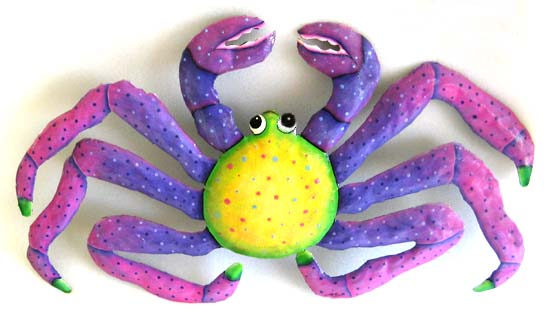 "Pastel Painted Metal Crab Wall Decor - 13"" x 22"""