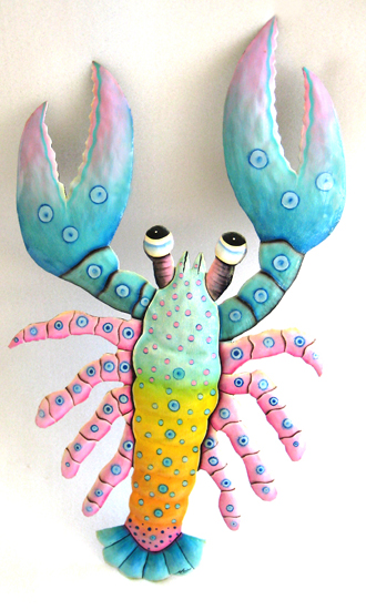 "Pastel Aqua Lobster Wall Hanging - Handcut Steel Drum - 14 1/2"" x 22"""