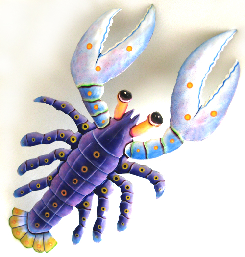 """Purple Lobster Wall Hanging - Hand Painted Metal Design - 14 1/2"""" x 22"""
