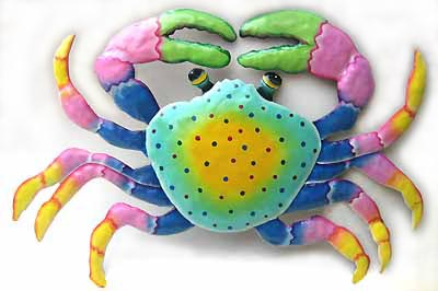 "Aqua Crab Design in Hand Painted Metal Art - 15"" x 22"""