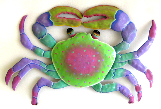Hand Painted Pastel Crab Wall Hanging - Hand painted tropical art wall hanging. Handcrafted in Haiti from recycled steel drums.
