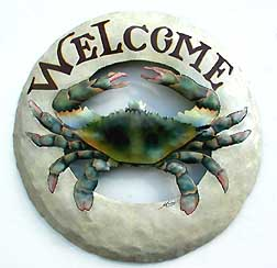 Round Blue Crab Welcome Sign - Nautical Decor - Hand painted metal tropical art wall hanging. Handcrafted in Haiti from recycled steel drums.