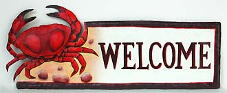 Painted Metal Red Crab Welcome Sign - Hand painted metal tropical art wall hanging. Handcrafted in Haiti from recycled steel drums.