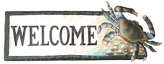 Handpainted Metal Blue Crab Welcome Sign - Hand painted metal tropical art wall hanging. Handcrafted in Haiti from recycled steel drums.