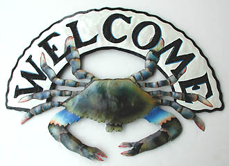 Painted metal art blue crab nautical welcome sign coastal wall decor 14 x 20