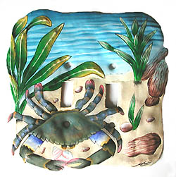 Hand painted metal crab switch plate cover. Haitian recycled steel drum switchplate