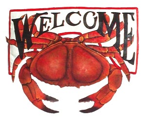 Hand Painted Metal Red Crab Welcome Sign - Hand painted metal tropical art wall hanging. Handcrafted in Haiti from recycled steel drums.
