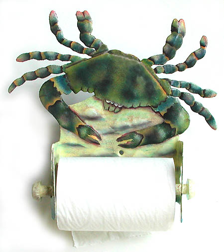 Hand painted metal crab toilet paper holder. Haitian recycled steel drum bathroom decor