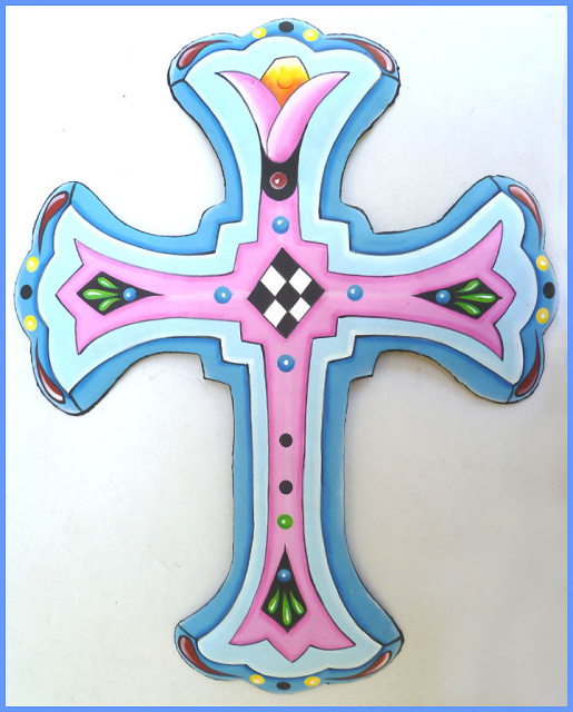 cross wall decor - painted metal