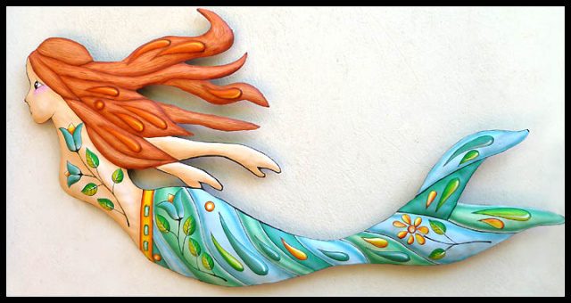 Hand Painted Metal Tropical Mermaid Wall Hanging   Haitian Steel Drum Metal  Art