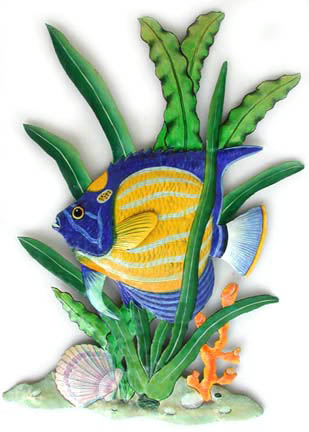 Painted Metal Tropical Fish from Tropical Fish Decor - Tropical wall decor, switchplate covers and stained glass suncatchers.