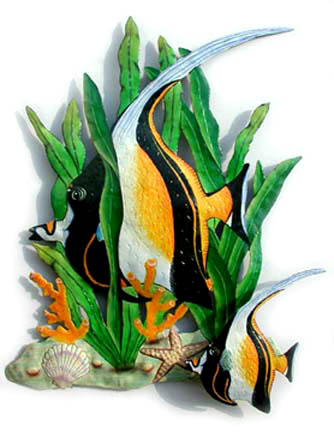 Moorish Idol Tropical Fish Wall Decor - Hand painted tropical fish metal wall hanging Tropical art design. Handcrafted from recycled steel drums in Haiti. Caribbean wall decor.