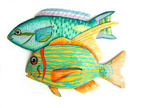 Fish Metal Wall Art tropical fish metal art designs - handcrafted tropical decor