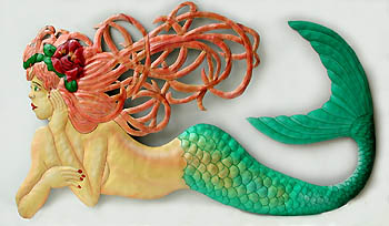 Mermaid Wall Decor in Painted Metal - Hand crafted in Haiti from recycled  steel drums.