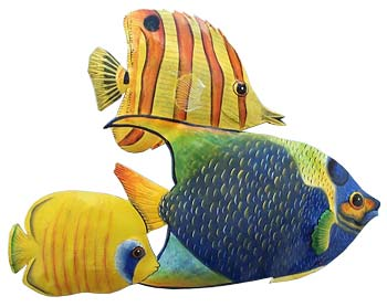 3 Brightly Painted Tropical Fish Hand Metal Wall Hanging Art Design