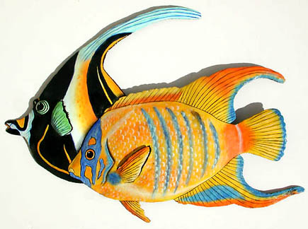 Tropical fish wall hanging - Hand painted metal art
