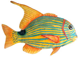 Handcrafted Gold & Turquoise Tropical Fish -Hand painted tropical fish metal wall hanging Tropical art design. Handcrafted from recycled steel drums in Haiti. Caribbean wall decor.