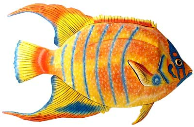 Tropical Fish Wall Decor - Handpainted metal art - Haitian metal design