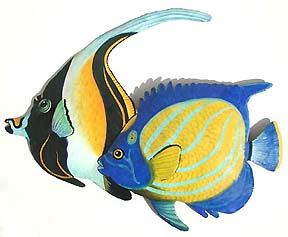 Painted metal tropical fish -Tropical decor - Metal wall hanging
