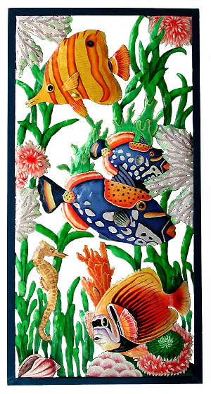 Painted metal tropical fish wall hanging - Haitian steel drum metal art