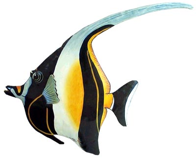 Moorish Idol Tropical Fish - Hand painted tropical fish metal wall hanging Tropical art design. Handcrafted from recycled steel drums in Haiti. Caribbean wall decor.