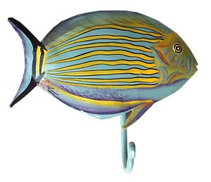 Painted metal tropical fish wall hook. Bathroom decor. Handcut from recycled Haitian steel drums.