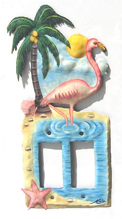 painted metal flamingo switchplate