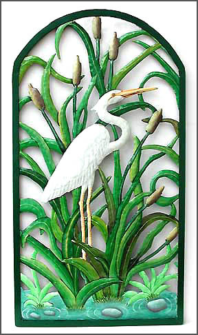 Painted Metal Tropical Water Birds Egret Blue Heron Amp Flamingo Designs
