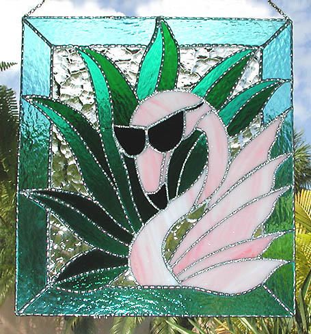Pink Flamingo Glass Art Panel - Tropical design stained glass suncatcher.