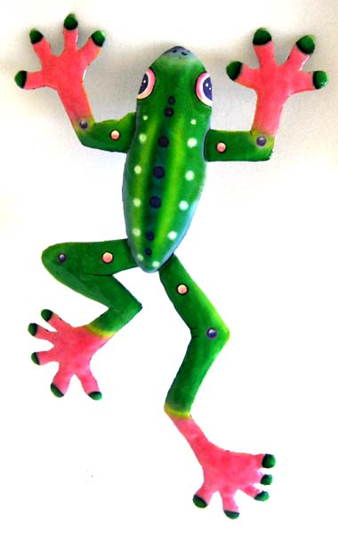 Green & Pink Frog Wall Hanging -Outdoor patio wall art.  Hand painted metal frog design - Tropical garden art wall hanging. Handcrafted in Haiti from recycled steel drums. Caribbean wall decor.