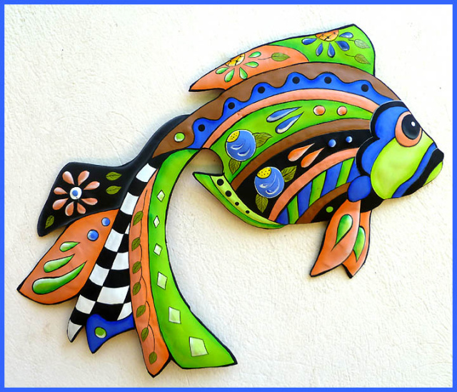 painted metal tropical fish wall hanging. Haitian steel drum metal art.