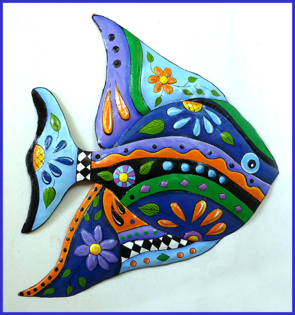 Hand painted metal tropical fish wall hanging.