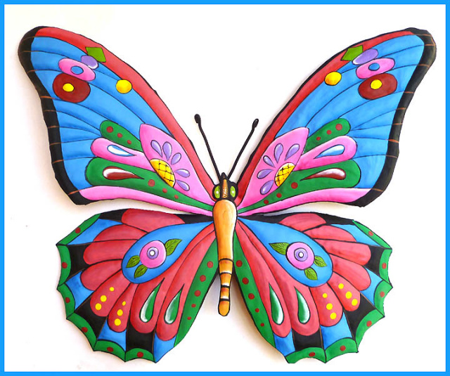 Painted Metal Butterfly Wall Hanging Tropical Decor