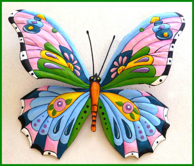 painted metal butterfly wall art - garden decor