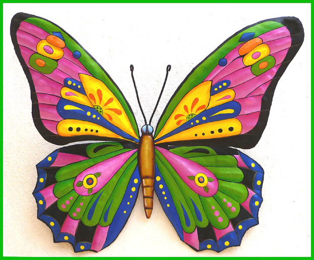 Painted metal art butterfly wall hanging