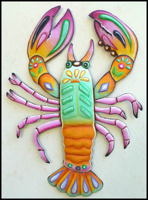 Lobster - Painted metal wall hanging