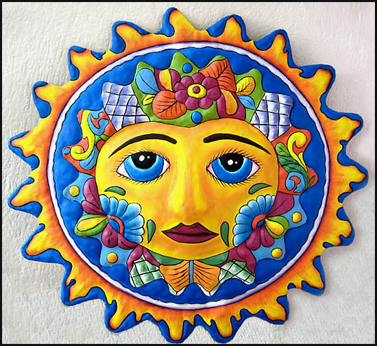 hand painted metal sun wall hanging tropical metal garden art handcrafted in haiti from - Sun Wall Decor