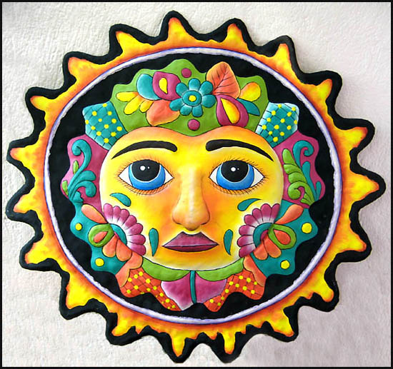 Hand painted metal sun wall hanging. Outdoor garden art. Hand cut from steel drum in Haiti.