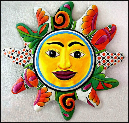 Hand painted metal sun wall hanging. Out door garden metal art.