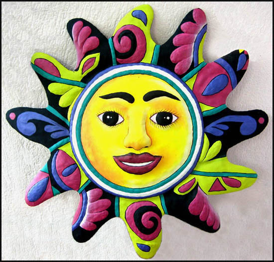 Hand painted metal sun wall hanging - Tropical metal garden and patio art - Handcrafted in Haiti from recycled steel