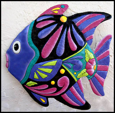 Painted metal tropical fish wall decor - Haitian steel drum metal art.